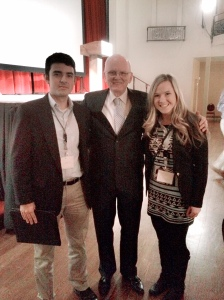 Student fellows, Mario Ortez and Lacey Ward, pictured with former CIA Chief of Counterintelligence, James Olson.